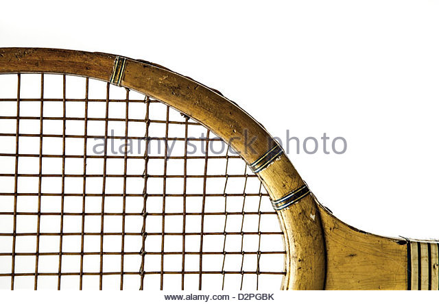 old wooden racquet - Stock Image