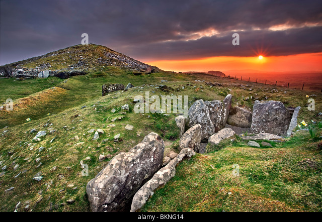 Loughcrew Cairn T in background with cairn U in foreground. Captured at Dusk. Co Meath, Ireland. - Stock Image
