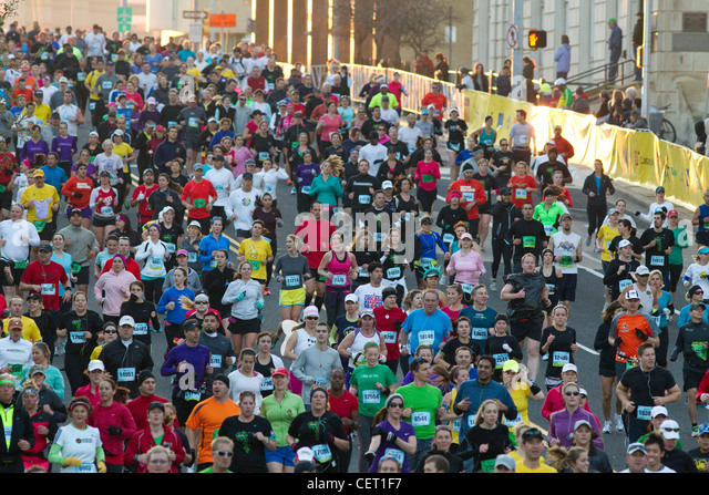 More than 18,000 runners pounded the streets of downtown Austin Texas during marathon race - Stock Image