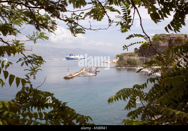 Boats in the Ionian Sea, Kerkyra, Corfu, Greece - Stock Image