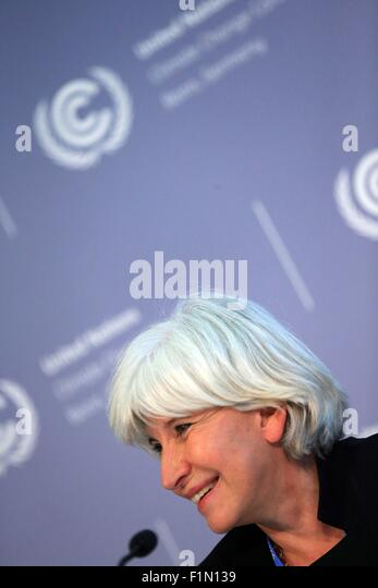 Bonn, Germany. 4th Sep, 2015. Laurence Tubiana, Special Climate Envoy for the Government of France, attends a press - Stock Image