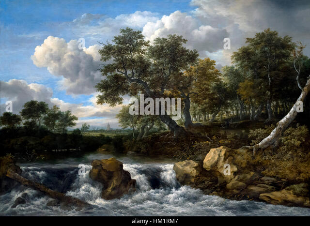 Landscape with Waterfall, by Jacob Isaacksz van Ruisdael, circa 1668, oil on canvas, Rijksmuseum, Amsterdam, Netherlands, - Stock Image