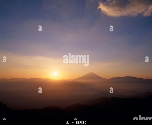 Mt.Fuji And Morning Sun - Stock Image