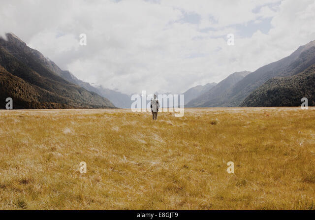 New Zealand, Man standing in grassy field, mountains in background - Stock Image
