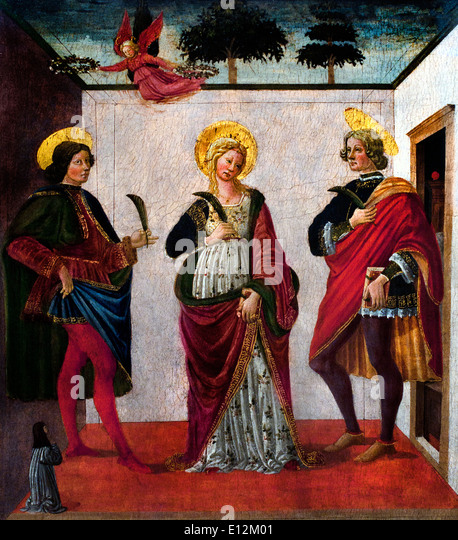 Saint Cecilia between Saint Valerian and Saint Tiburtius with a Donor 1470 Francesco Botticini Florence 1446-1498 - Stock Image