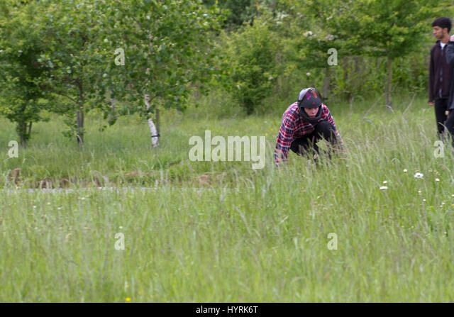 Downhill skateboarder partly hidden by long grass - Stock Image