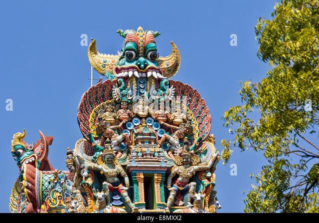 MEENAKSHI AMMAN TEMPLE MADURAI INDIA TOWER DETAIL OF DEMON OR MONSTER - Stock Image