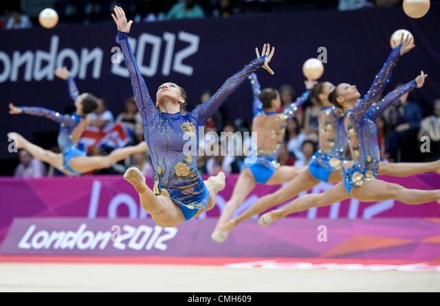 09.08.2012. London, England.  Gymnastics Rhythmic   Wembley  Arena .Bulgaria - Stock Image