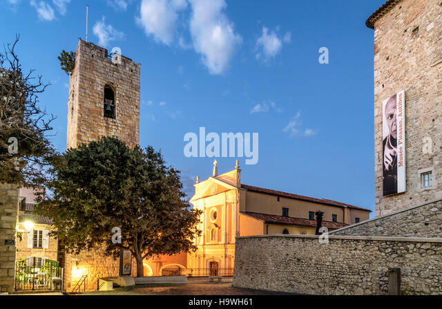 Picasso Museum, Old Town,Cathedral Notre Dame,  Vieil Antibes, Antibes, Cote d'Azur, Chateau Grimaldi, French - Stock Image