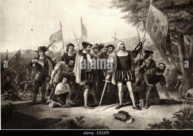 Landing of Christopher Columbus, Engraving by H. B. Hall, 1856 - Stock-Bilder