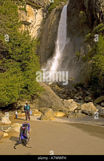 Yosemite Falls lower falls tourists trees waterfall flowing - Stock Image
