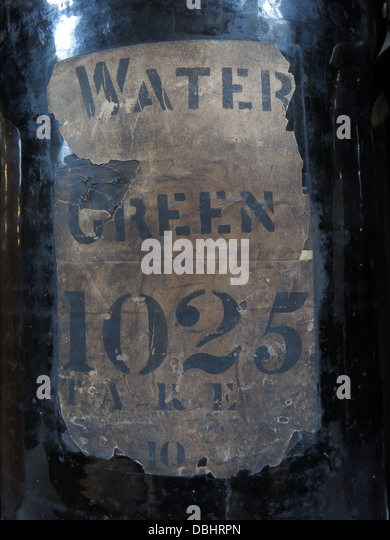 A pot of water green glaze from Longton Stoke-On-Trent Great Britain showing potteries heritage at the Gladstone - Stock Image