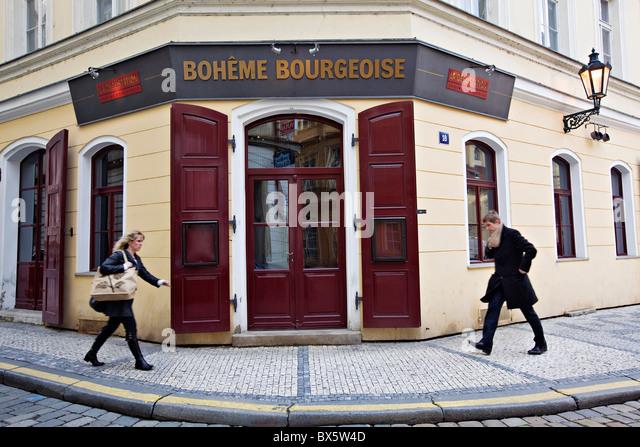 Prague, two woman walking around restaurant Le Degustation Boheme Bourgeoise, Michelin star. (CTK Photo/Josef Horazny) - Stock Image