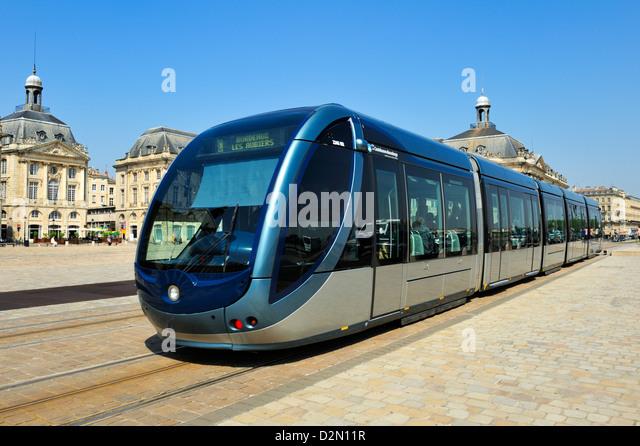 Tram, Place de la Bourse, Bordeaux, UNESCO World Heritage Site, Gironde, Aquitaine, France, Europe - Stock Image
