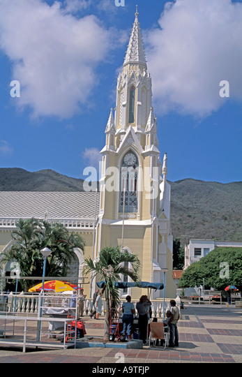 Isla Margarita island Venezuela exterior steeple Basilica Virgin del Valle virgin of the valley - Stock Image