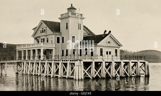The Carquinez Strait Lighthouse, circa 1910 - Stock Image