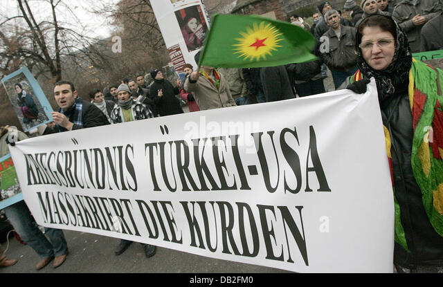 Kurds protest against Turkey's military offensive in northern Iraq near the Turkish embassy in Berlin, Germany, - Stock Image