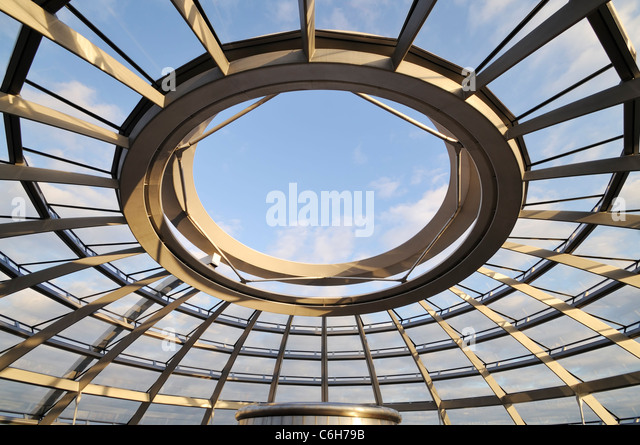 Sky View of the Reichstag Dome from Inside. Top of the Reichstag, Germany's parliament building, Berlin - Stock Image