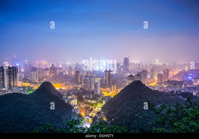 Guiyang, China cityscape at night. - Stock Image