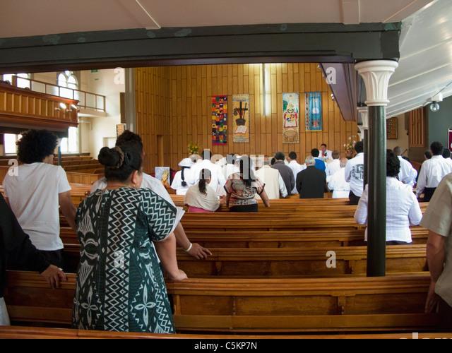Pacific Island people attending Wesley Methodist Church, Taranaki Street, Wellington, New Zealand - Stock Image