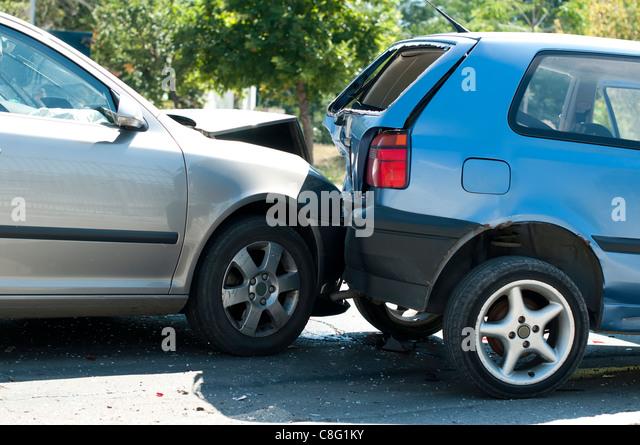Two crashed cars close up - Stock Image