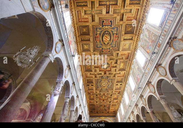 Italy, Rome, Capitoline Hill, Santa Maria in Aracoeli, Basilica of, inside, interior - Stock Image