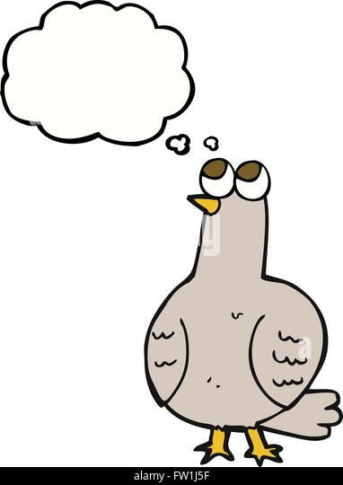 freehand drawn thought bubble cartoon bird - Stock Image