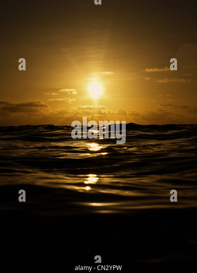 Sunset over seascape - Stock Image