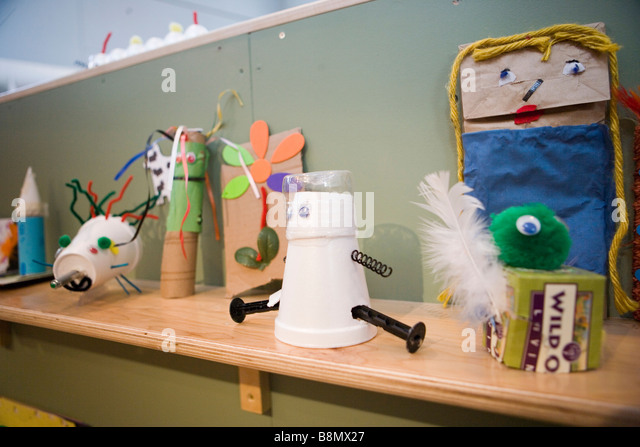 bag puppets, dolls, and toys made of simple recycled materials - Stock-Bilder