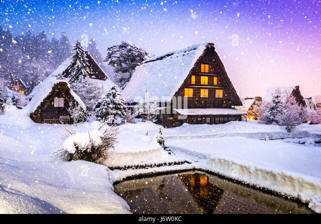 Shirakawago, Japan historic winter village. - Stock Image