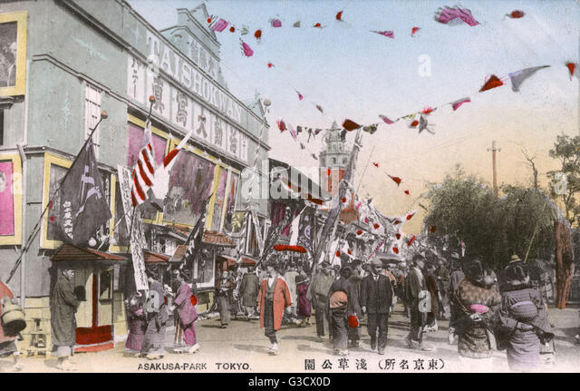"For most of the twentieth century, Asakusa was the major entertainment district in Tokyo. The rokku or ""Sixth - Stock Image"
