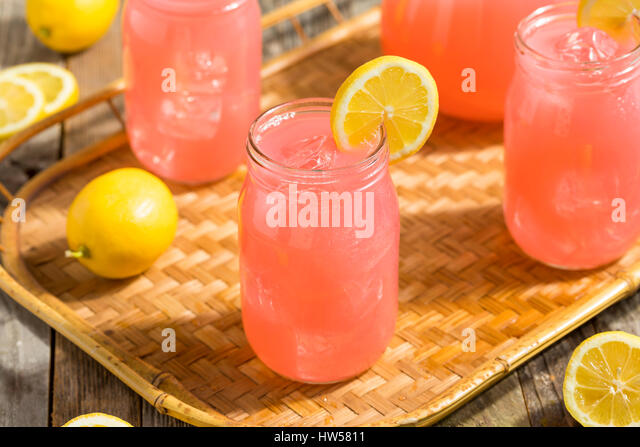 Homemade Fresh Pink Lemonade Ready to Drink - Stock Image
