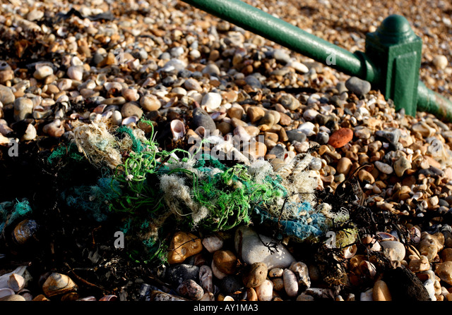 Brighton Pebble Beach close up with green Rope - Stock Image