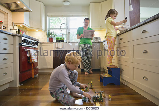 Family morning in the kitchen - Stock-Bilder