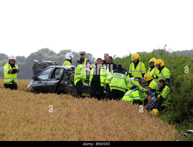 Car accident, UK - Stock Image
