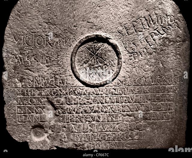 Chi Rho symbol mensa table martyrs third quarter of IV - 5 century  BC  Umm el Kherbet Ahdam Algeria Khirbet Um - Stock Image