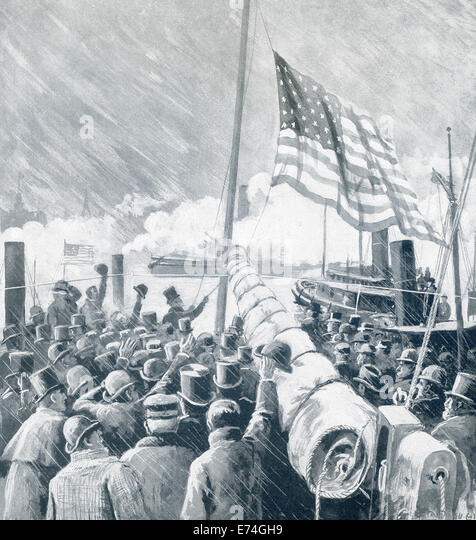 Benjamin Harrison, the 23rd US president, is shown raising the American colors on the United States Mail Steamship - Stock Image