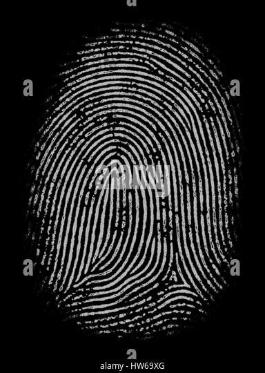 Fingerprint against black background, illustration. - Stock-Bilder