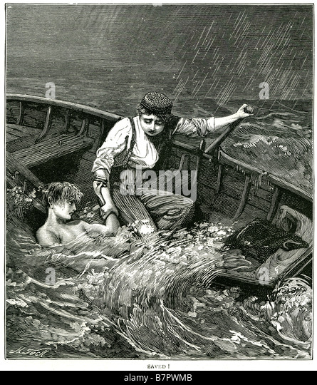 saved rescue boat sea ruff storm weather winter rain rescuer drowning ship wreak man over board - Stock Image