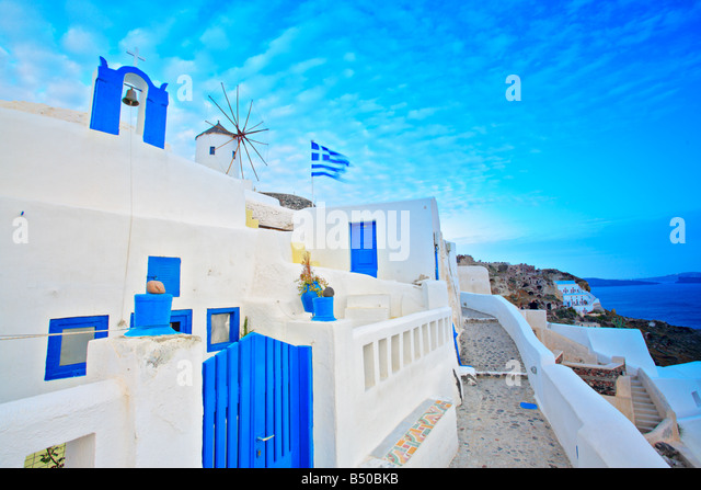 Scene from Oia village on Santorini island - Stock Image