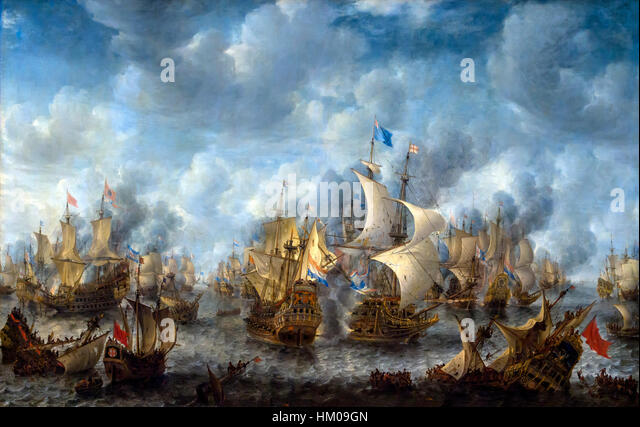 The Battle of Terheide, by Jan Abrahamsz Beerstraten, 1653-1666, oil on canvas, Rijksmuseum, Amsterdam, Netherlands, - Stock Image
