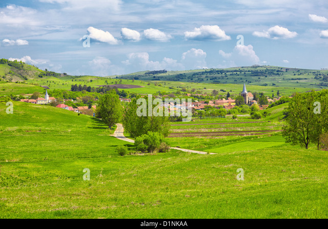 Landscape in the transylvanian countryside in the village of Soars, Romania. - Stock Image