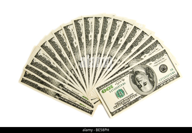 Two thousand american dollars isolated on white - Stock Image