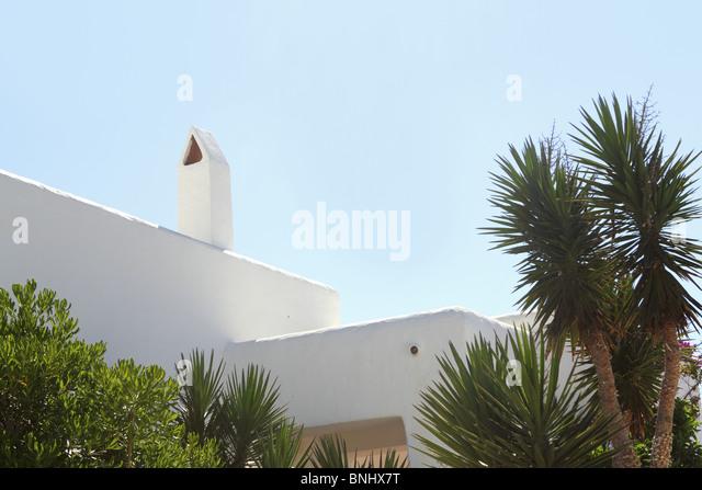 white mediterranean house detail in Formentera Balearic islands - Stock Image