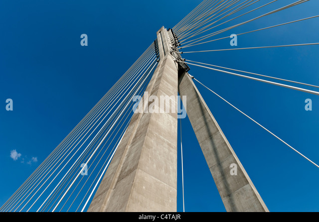 Detail of modern bridge abstract architecture in Warsaw, Poland - Stock Image
