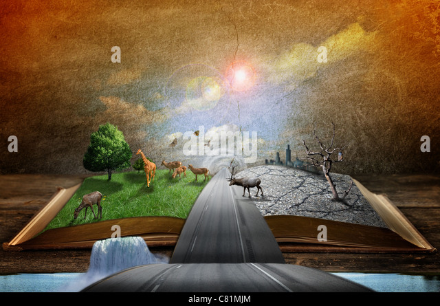 Creative concept image of country and urban concept coming out of pages in magical book - Stock Image