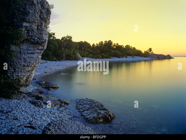 Sunrise at Steep Rock Beach Park, Manitoba, Canada - Stock Image