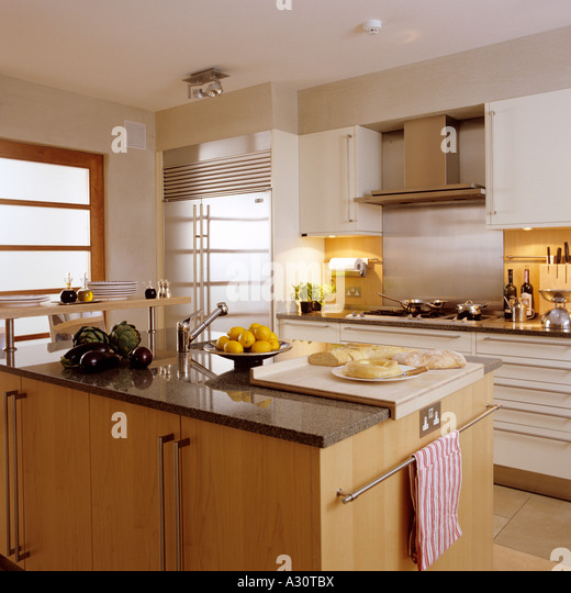 contemporary kitchen in a London townhouse - Stock Image