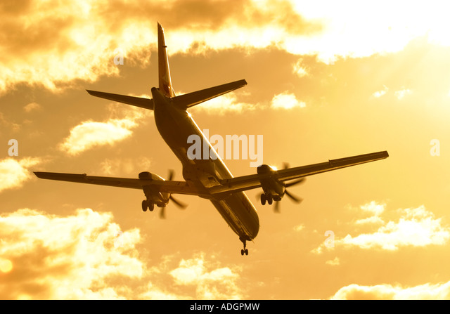 Regional airliner silhouette - Stock Image