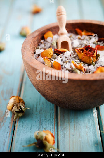 Homemade bath salt with rose and lavender - Stock Image